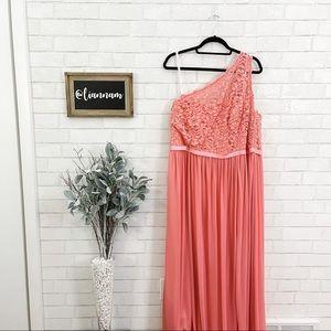 David's Bridal One Shoulder Lace Parfait Dress